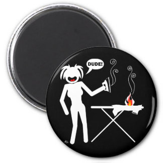Ironing Hazard Buttons and Keychains 6 Cm Round Magnet