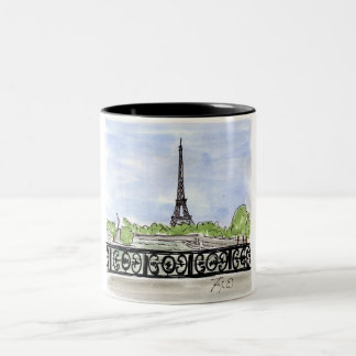Ironwork Bridge Eiffel Tower Two-Tone Coffee Mug