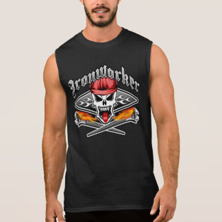 Ironworker Skull 2.1 and Flaming Spud Wrenches Sleeveless Shirt
