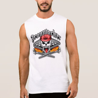 Ironworker Skull 2.1 and Flaming Spud Wrenches Sleeveless Tee