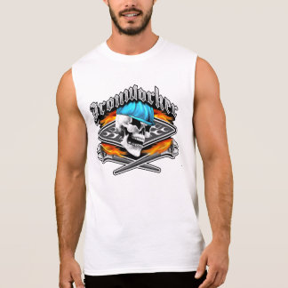 Ironworker Skull and Flaming Crossed Wrenches Sleeveless Shirt