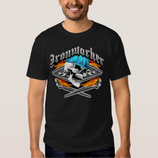 Ironworker Skull and Flaming Crossed Wrenches T-shirts