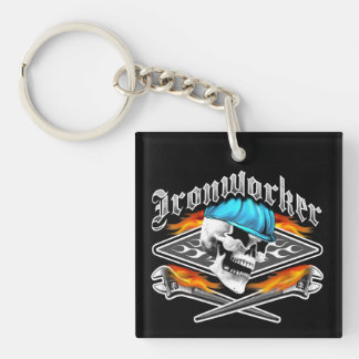 Ironworker Skull and Flaming Wrenches Double-Sided Square Acrylic Key Ring