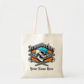 Ironworker Skull and Flaming Wrenches Budget Tote Bag