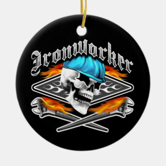 Ironworker Skull and Spud Wrenches Christmas Ornament
