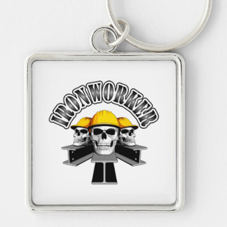 Ironworker Skulls Silver-Colored Square Key Ring