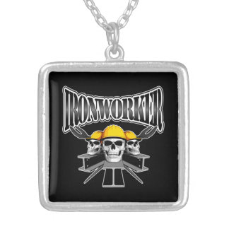 Ironworker Skulls Square Pendant Necklace