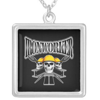 Ironworker Skulls Square Pendant Necklace