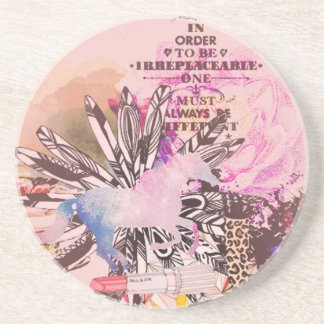 Irreplaceable, quirky kitsch girly art. beverage coaster