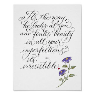Irresistible romantic typography verse poster