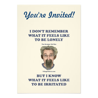 Irritated Old Man Husband Personalized Invites