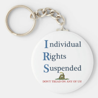 IRS Individual Rights Suspended Basic Round Button Key Ring