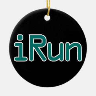 iRun - Teal (Black outline) Christmas Ornament