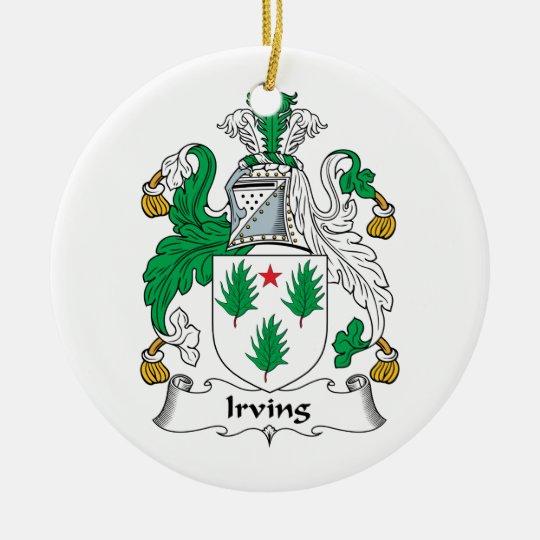 Irving Family Crest Christmas Ornament
