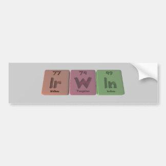 Irwin as Iridium Tungsten Indium Car Bumper Sticker