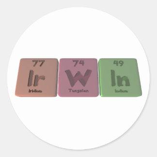 Irwin as Iridium Tungsten Indium Round Sticker