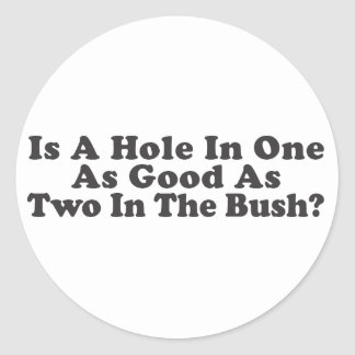Is A Hole In One As Good As Two In The Bush Round Sticker