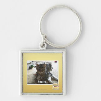 Is hug. He likes. Silver-Colored Square Key Ring