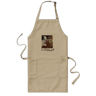 """Is it Friday yet"" Bulldog with wine apron."