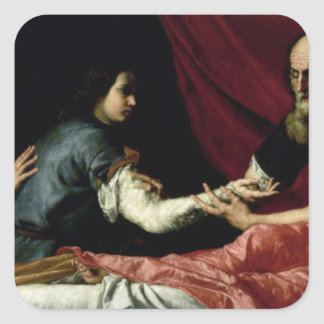 Isaac Blessing Jacob, 1637 Square Sticker