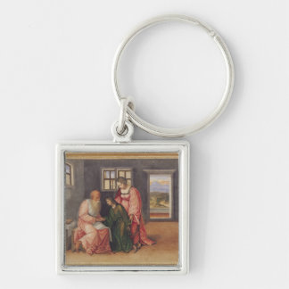 Isaac Blessing Jacob, c.1520 Silver-Colored Square Key Ring