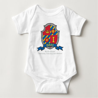Isaac I letter name meaning crest knights shield Baby Bodysuit