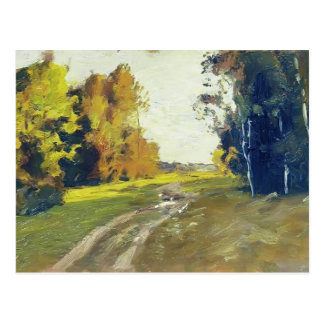 Isaac Levitan-Autumn evening Trail in the forest Post Card