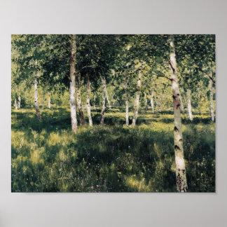 Isaac Levitan- Birch grove Poster