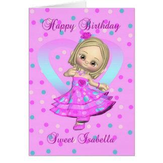 Isabella birthday card - pink and blue polka dot