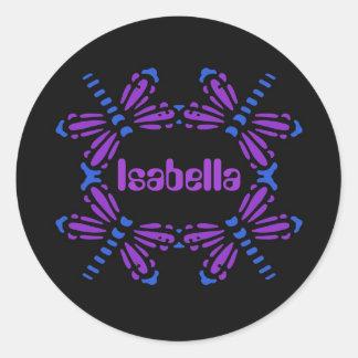 Isabella, dragonflies in blue & purple on black round sticker