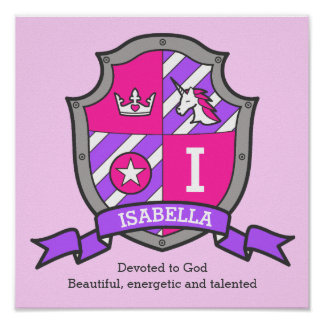 Isabella girls name meaning heraldry shield poster