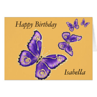 Isabella, Happy Birthday purple butterfly card