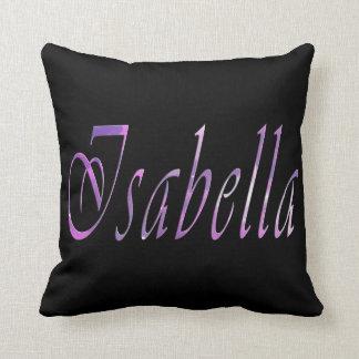 Isabella, Name, Logo, Girls Black Throw Cushion