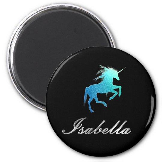 Isabella name magnet - Glitter Unicorn, shiny
