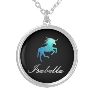 Isabella name - unicorn silver plated necklace