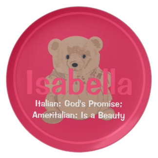 Isabella Teddy Bear Plate