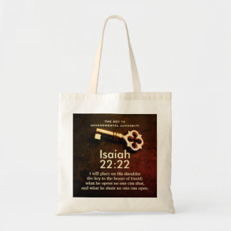 Isaiah 22:22 Key to the House of David Bible Verse Tote Bag