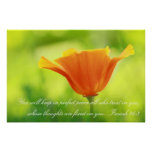 Isaiah 26:3, Orange poppy Poster