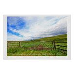 Isaiah 26:3, Scottish fields with wooden fence wal Poster