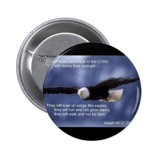 Isaiah 40:31 6 cm round badge