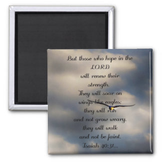 Isaiah 40:31 Custom Christian Bible Verse Gift Square Magnet