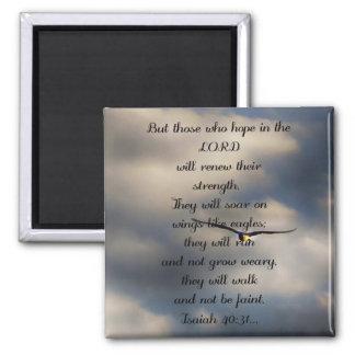 Isaiah 40:31 Custom Christian Bible Verse Gift Square Magnet