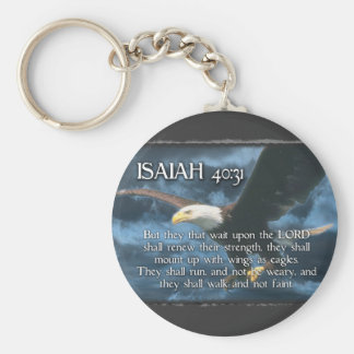 ISAIAH 40:31  Mount up with wings as EAGLES Basic Round Button Key Ring
