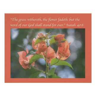 Isaiah 40:8 Poster (Alabama Sunset Bougainvilleas)