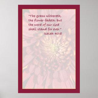 Isaiah 40:8 Scripture Print (Red Mum)