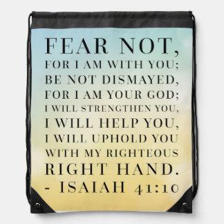 Isaiah 41:10 Bible Quote Drawstring Bag
