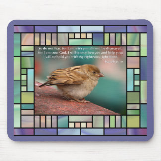 Isaiah 41:10 Bible Verse With Bird Stained Glass Mouse Pad