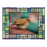 Isaiah 41:10 Bible Verse With Bird Stained Glass Postcards