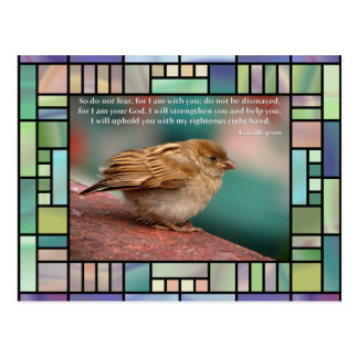 Isaiah 41:10 Bible Verse With Bird Stained Glass Postcard