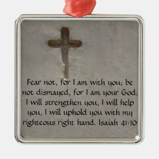 Isaiah 41:10 Inspirational Bible Verse Silver-Colored Square Decoration